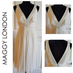 MAGGY LONDON Silk Dress with Beading - Size 14